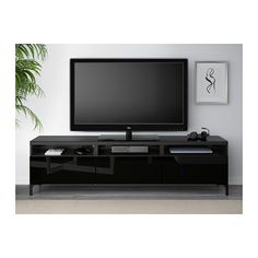 BESTÅ TV unit with drawers - black-brown/Selsviken high-gloss/black, drawer runner, soft-closing - IKEA