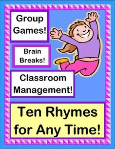 """TEN RHYMES and GROUP GAMES for CLASSROOM MANAGEMENT! Good Morning Time, Clean-Up time, Snack Time, Friendship Time, Transition Time, and even """"Wiggle Times"""" are all represented. Use Rhythm and Rhyme to 'focus' your kids and get them moving from 'Point A' to 'Point B'. (11 pages) From Joyful Noises Express TpT! $"""