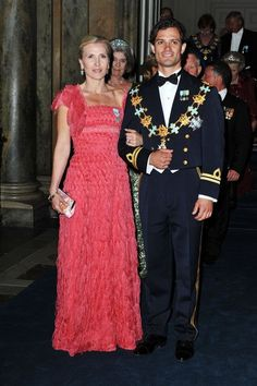 19 June 2010 - Prince Carl Philip, accompanied by Anna Westling Bloom, attends Princess Victoria and Prince Daniel's wedding banquet