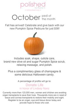 October pumpkin pedi of the month supporting Donate Life 2014