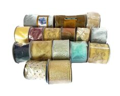 Lot 16 Wire Edge Ribbon Assorted Colors 10 yd Spools Craft Gift Wrap Scarfing