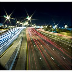 Long exposure photography :) really cool way of taking photographs of the highway. you can see which cars are driving to and from you