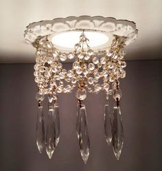 Decorative recessed light trim embellished with clear crystal chains and clear U-Drop crystals. Decorative recessed light trim comes in 14 finishes Chandeliers, Chandelier Lighting, Antique Chandelier, Shabby Chic Français, Shabby Vintage, Home Living, My New Room, Lampshades, Clear Crystal
