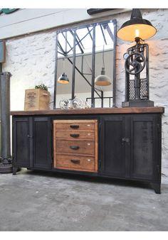 Enfilade industrielle avec tiroirs bois