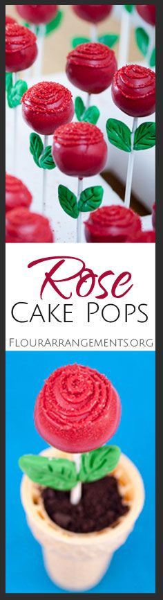 Ice cream cones make perfect edible flower pots for rose cake pops. A dusting of chocolate cookie crumbs over ice cream looks just like dirt.