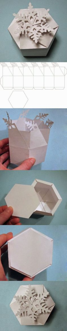 DIY Snowflake Gift Box diy craft crafts christmas how to tutorial winter crafts christmas crafts christmas decorations christmas craft Diy Gift Box, Diy Gifts, Gift Boxes, Craft Tutorials, Diy Projects, Free Tutorials, Diy Paper, Paper Crafts, Christmas Crafts