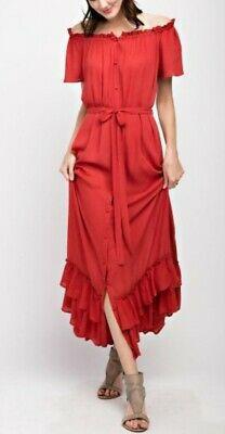 92dbc79f30f Details about Easel Dress Anthropologie Maxi Off Shoulder Boho Festival  Coachella Dress Small