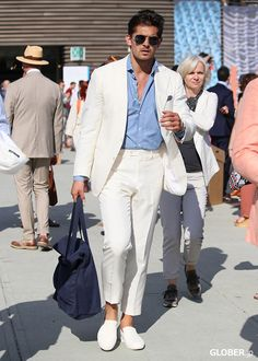 off white summer suit with chambery shirt