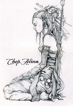 dragon warrior by ~ChepAlina on deviantART Dragon Warrior, Warrior Girl, Fantasy Art Warrior, Warrior Drawing, Fantasy Kunst Krieger, Fenrir Tattoo, Art Sketches, Art Drawings, Drawing Drawing