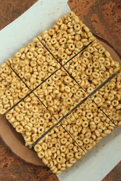 3 ingredient PB & Honey bars 1/2 c crunchy natural peanut butter 1/2 c honey 3 c Cheerios Line 8x 8 pan w/ parchment. Combine pb & h in saucepan over med/high. Heat until simmers, 2-3 min, stirring. Remove from heat, mix well. Stir in cereal. Pour into pan and press firmly. Let sit for 1 hour. Cut into bars.