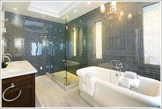 I must be drawn to the gray, slate-like tile.  We don't have room for a tub, but I really love the floors, as well.  I'm not so sure about the dark cabinet.  Thoughts?  Google Image Result for http://www.socketsite.com/171%252025th%2520Master%2520Bath.jpg