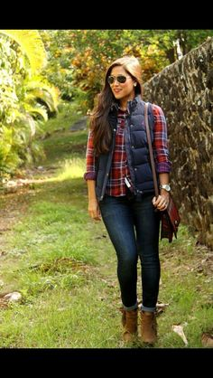 Plaid button up with navy puffer vest, skinny jeans and brown booties. Stitch Fix Fall Fashion 2016