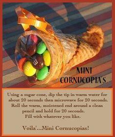 Mini Cornucopia's  #fall #treats #sweets #crafts  Great Fall Treats