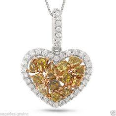 14K Rose And White Gold Multi Cut Fancy Mix Color Diamond Heart Pendant Necklace #SageDesigns #Pendant