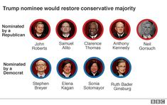 Graphic showing which Supreme Court justices were nominated by Republican and Democratic presidents Supreme Court Cases, Republican Presidents, Supreme Court Justices, Us Politics, Image