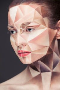 "Cubist inspiration in a photo from Alexander Khokhlov's series Weird Beauty and ""2D or not 2D"" created in collaboration with make-up artist Valeriya Kutsan."