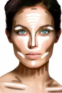 For a more sculpted face; prominent cheekbones, a leaner, straighter nose, and 5-10 lbs off instantly!  - Apply your contour shade (3-4 shades darker than your skin color) to the areas on the chart where you see brown  -Apply your highlighting shade (3-4 shades lighter than your skin color, or a sheer white matte) to the areas where you see white on the chart  -Blend, blend, blend!