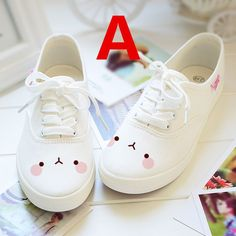 White students hand-painted canvas shoes More Más Kawaii Emoji Printing Canvas Shoes In White sold by KOSMUI. Shop more products from KOSMUI on Storenvy, the home of independent small businesses all over the world. Looks like Molang! I ❤️ Molang For Kawaii Fashion, Lolita Fashion, Cute Fashion, Fashion Shoes, Kawaii Shoes, Kawaii Clothes, Kawaii Outfit, Mode Shoes, Women's Shoes
