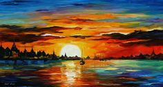 """""""Sunrise in the Harbor"""" by Leonid Afremov ___________________________ Click on the image to buy this painting ___________________________ #art #painting #afremov #wallart #walldecor #fineart #beautiful #homedecor #design"""