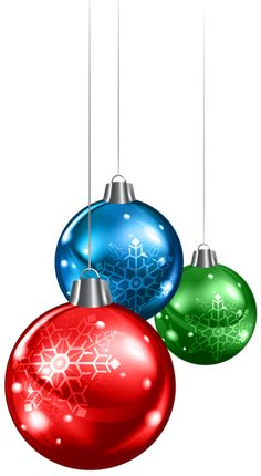 Red Green and Blue Christmas Balls PNG Clipart Image
