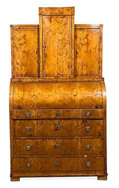 Biedermeier satinwood bureau, mid 19th Century Desk 204x113x48 cm