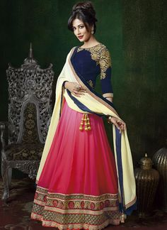 Chitrangada Singh Hot Pink And Blue Fancy Designer Lehenga Choli.These Lehenga Designed Georgette Fabric With Embroidery Work And Matching Blue Color Unstitched Choli With Embroidery Work.Available With Matching Pure Chiffon Dupatta. Bollywood Lehenga, Pink Lehenga, Bridal Lehenga Choli, Lehenga Saree, Bollywood Fashion, Bollywood Style, Anarkali Suits, Bollywood Celebrities, Punjabi Suits