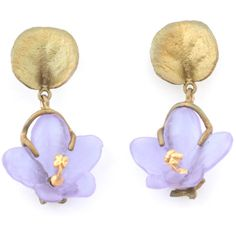 African violet flower drop stud earrings by Michael Michaud ❤ liked on Polyvore featuring jewelry, earrings, african earrings, violet jewelry, flower jewellery, flower stud earrings and flower jewelry