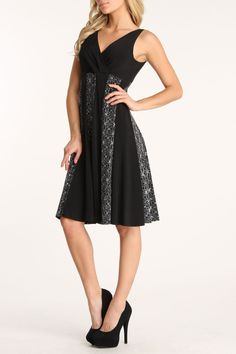 Glamour Panel Dress In Black & Silver.