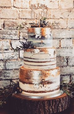 32 Jaw-Dropping Pretty Wedding Cake Ideas - 3 tiered semi naked wedding cake with gold leaf, thistle and blackberries,Wedding cakes vegan wedding cake 32 Jaw-Dropping Pretty Wedding Cake Ideas Vegan Wedding Cake, Pretty Wedding Cakes, Country Wedding Cakes, Wedding Cake Rustic, Wedding Cake Designs, Wedding Themes, Wedding Colors, Rustic Cake, Wedding Cake Vintage