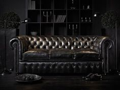 Dark decor at it's best. Black leather couch, black bookcase, black walls.