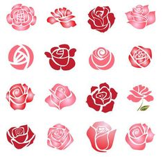 Illustration of Set of rose flower design elements vector art, clipart and stock vectors. Rose Illustration, Design Rosa, Rose Design, Stencil Rosa, Fabric Paint Designs, Simple Rose, Rose Drawing Simple, Flower Doodles, Hand Embroidery Designs