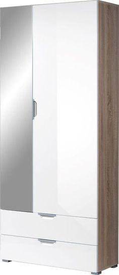 Eva is een functionele opbergkast speciaal ontworpen voor de hal. Achter de linkerdeur deur vind je een ruimte met 4 planken. Deze smalle deur is afgewerkt met eenpasspiegel, zodat je nog even in de spiegel kunt kijken voordat je de deur uitloopt. In het rechter deel vind je een plank met een gaderobestang aan de onderkant. Deze garderobestang is bedoeld om hangers op te hangen en is tevens uitschuifbaar.