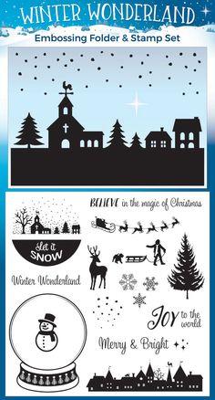 winter wonderland embossing folder & stamp set. practical publishing intl UK