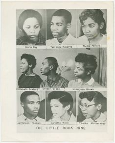 The Little Rock Nine were a group of African American students enrolled in Little Rock Central High School in The ensuing Little Rock Crisis, in which the students were initially prevented from entering the racially segregated school by Arkansas Gov American History Lessons, African American History, World History, History Books, Black History Facts, Black History Month, Cool Stuff, Martin Luther King, Black Art