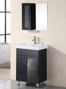 10 best Small Bathroom Vanities images on Pinterest   Bath vanities     Design Element Oslo 24 in  D Vanity in Espresso with Porcelain Vanity Top  and Mirror in   The Home Depot