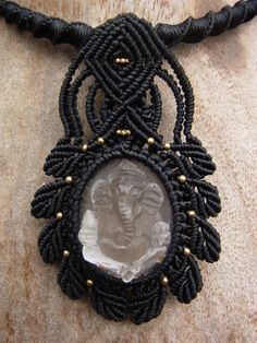 Macrame Choker Necklace Amulet Carved Quartz Ganesh Handmade Handcrafted | eBay