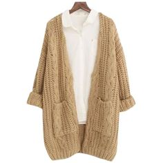 Chicnova Fashion V Neck Chunky Knit Cardigan ($20) ❤ liked on Polyvore featuring tops, cardigans, outerwear, jackets, beige top, thick knit cardigan, beige cardigan, relaxed fit tops and v neck top