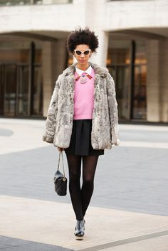 Last Chance! Break Out Your Furry Pieces One Last Time #refinery29  http://www.refinery29.com/fur-jacket-outfits#slide2  A vintage-style coat like this helps dress up a preppy, pastel outfit.