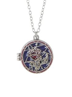 Disney Beauty And The Beast Stained Glass Rose Locket Necklace | Hot Topic
