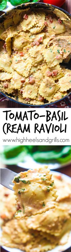 Tomato-Basil Cream Ravioli. With how easy this is, you will definitely want to add it to your regular dinner rotation! http://www.highheelsandgrills.com/2015/03/tomato-basil-cream-ravioli.html
