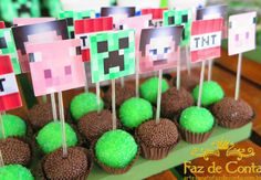 Minecraft Cupcakes, Minecraft Party, Lego Minecraft, Minecraft Crafts, Hulk Birthday, Mini Craft, Party Cakes, Birthdays, Birthday Parties