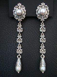 Romantic Style Natural Pearls 925 Solid Sterling Silver Greek Handamade Art Earrings