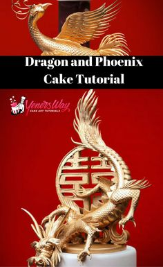 Learn how to decorate a cake with an oriental style dragon and phoenix from modelling chocolate, as well as a Chinese Double Happiness symbol topper.