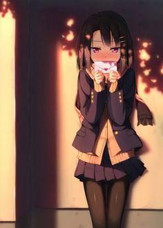 ✮ ANIME ART ✮ anime. . .school uniform. . .blazer. . .pleated skirt. . .love letter. . .confession. . .blushing. . .moe. . .cute. . .kawaii