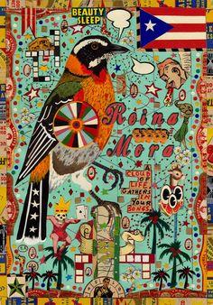 Bird for Puerto Rico - Tony Fitzpatrick Collage Artists, Collages, Tony Fitzpatrick, Russian Folk Art, Naive Art, Visionary Art, Outsider Art, Illustration Artists, Tribal Art