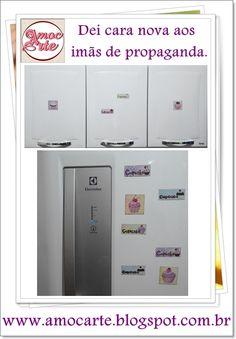 Imãs de cupcake - Reutilização de imãs de propagandas. http://amocarte.blogspot.com.br/