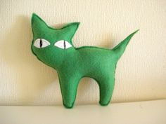 Green  Kitty by cronopia6 on Etsy, $8.00