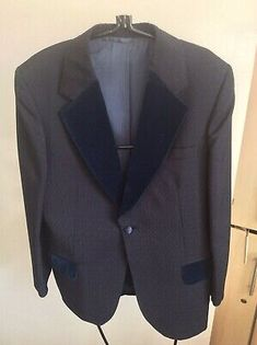 Bespoke Vintage 1977 Savoy Tailors Dinner Jacket with Velvet Lapels 42 Chest Blue Striped Suit, Blue Grey, Dinner Jacket, Lapels, Blue Check, Vintage Jacket, Blue Velvet, Men's Accessories, Bespoke