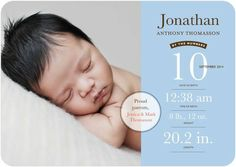 Newborn Numbers - Boy Photo Birth Announcements - Southern Living Magazine - Light Blue #baby