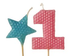"""1st Birthday Candle Set - Tall Rose Pink Number """"1"""" and Turquoise Star Shaped Beeswax Birthday Cake Candles on 9"""" Stem"""
